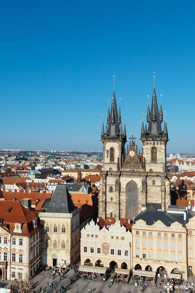 View from the clock tower of the town hall in Prague