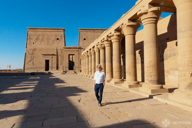 The mighty colonade of the Philae temple in Aswan, Egypt