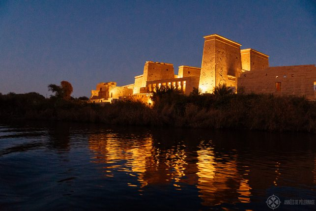 The philae temple at night before the sound and light show every evening, near Aswan, Egypt