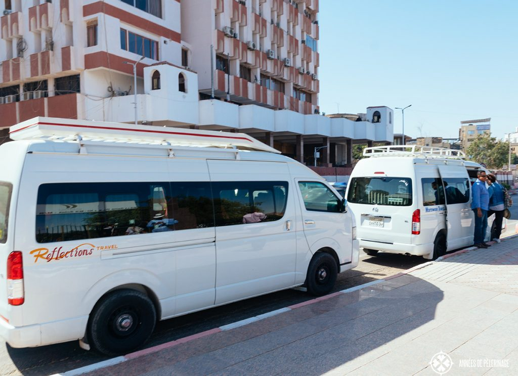 private minivans taking us from aswan to abu simbel by bus
