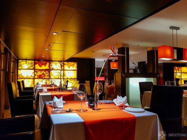 The main restaurant of the Oberoi Zahra luxury Nile cruise ship in Egypt