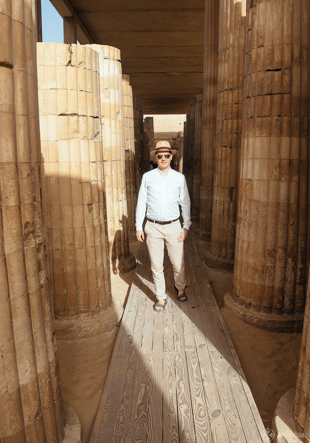 Walking through the colonnade inside Djoser's pyramid complex
