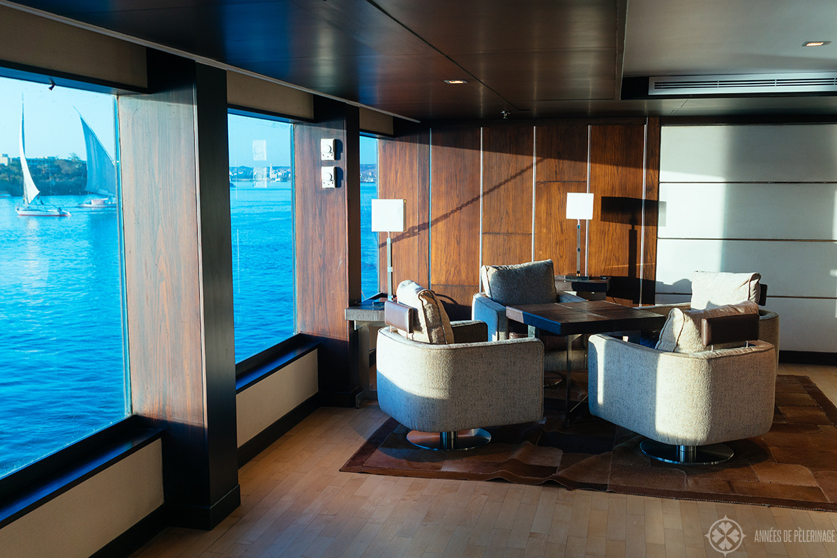 A sitting area on the second deck of the Oberoi Zahara luxury Nile cruise ship in Egypt
