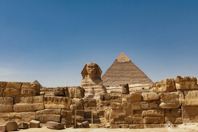 The Sphinx with the Pyramids in the background