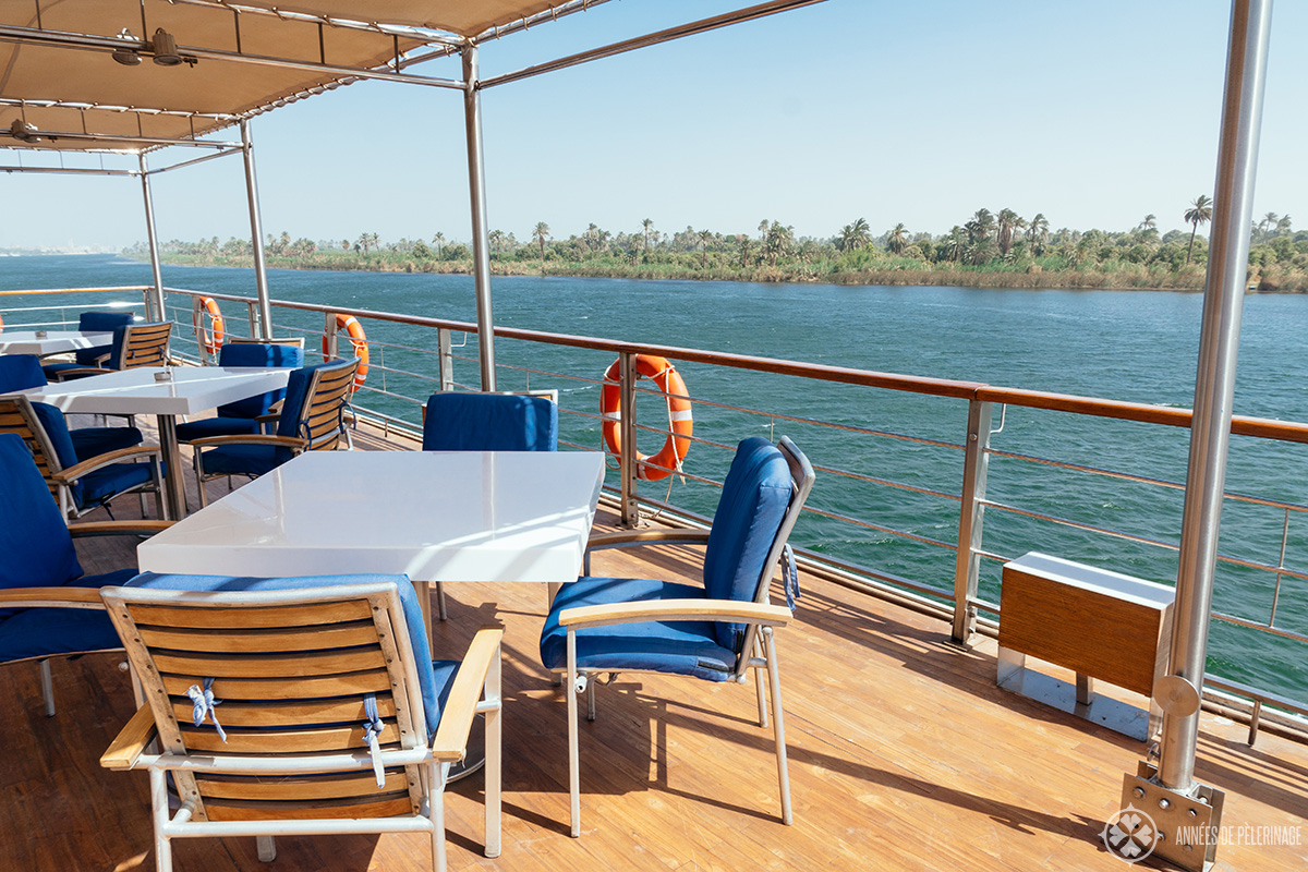 The bar on the sun deck of the Oberoi Zahra luxury Nile cruise ship in Egypt