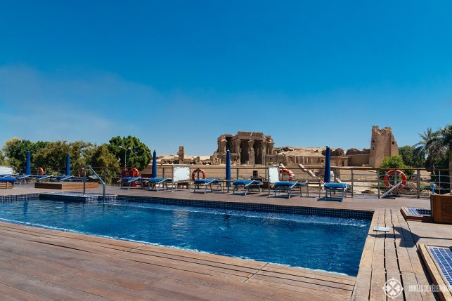 The pool on the sun deck with the temple of Kom Ombo on the back ground