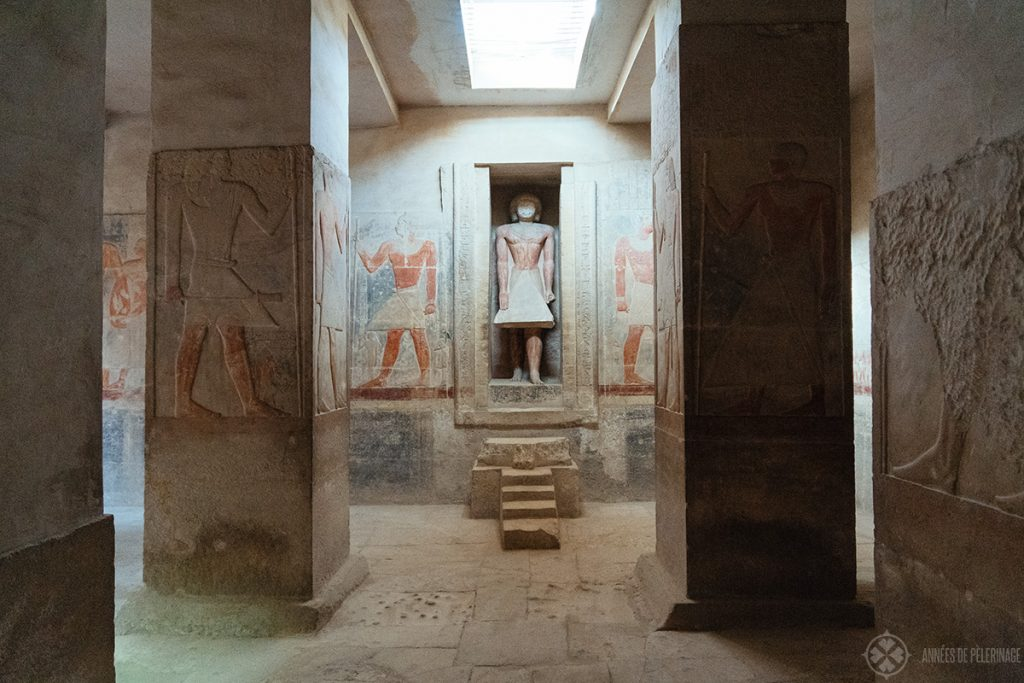 False door with a statue of Meruka inside his tomb in Saqqara