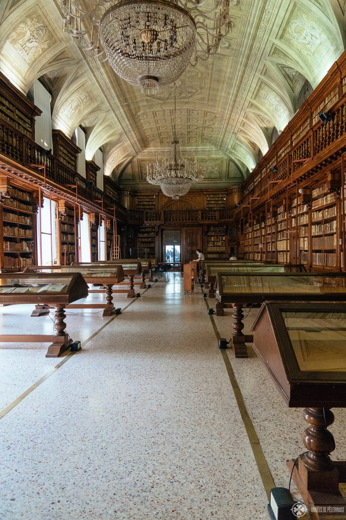 Library hall inside the Biblioteca Nazionale Braidense - one of the hidden tourist highlights in Milan, Italy