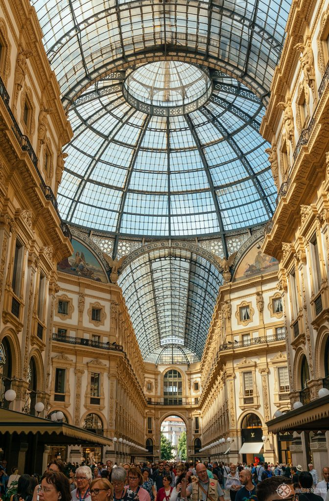 View inside the Galleria Vittorio Emanuele II - the luxury shopping mall in Milan, Italy