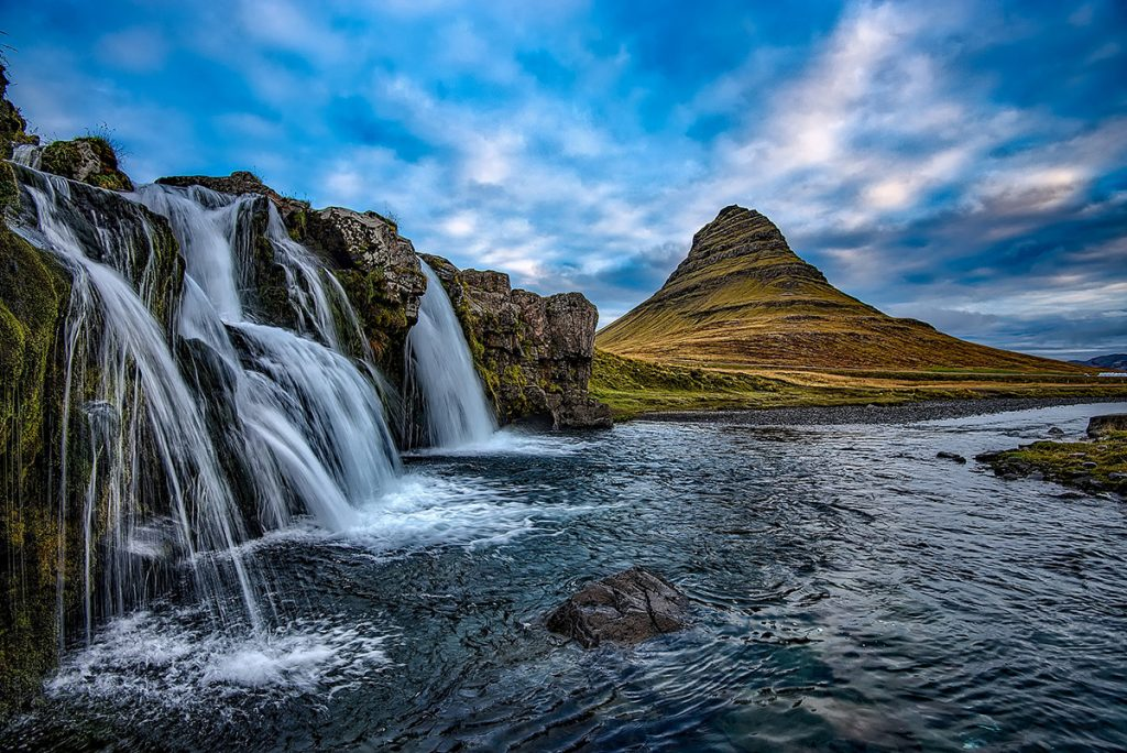 Kirkjufellsfoss waterfall on Snaefellsnes peninsula in Iceland