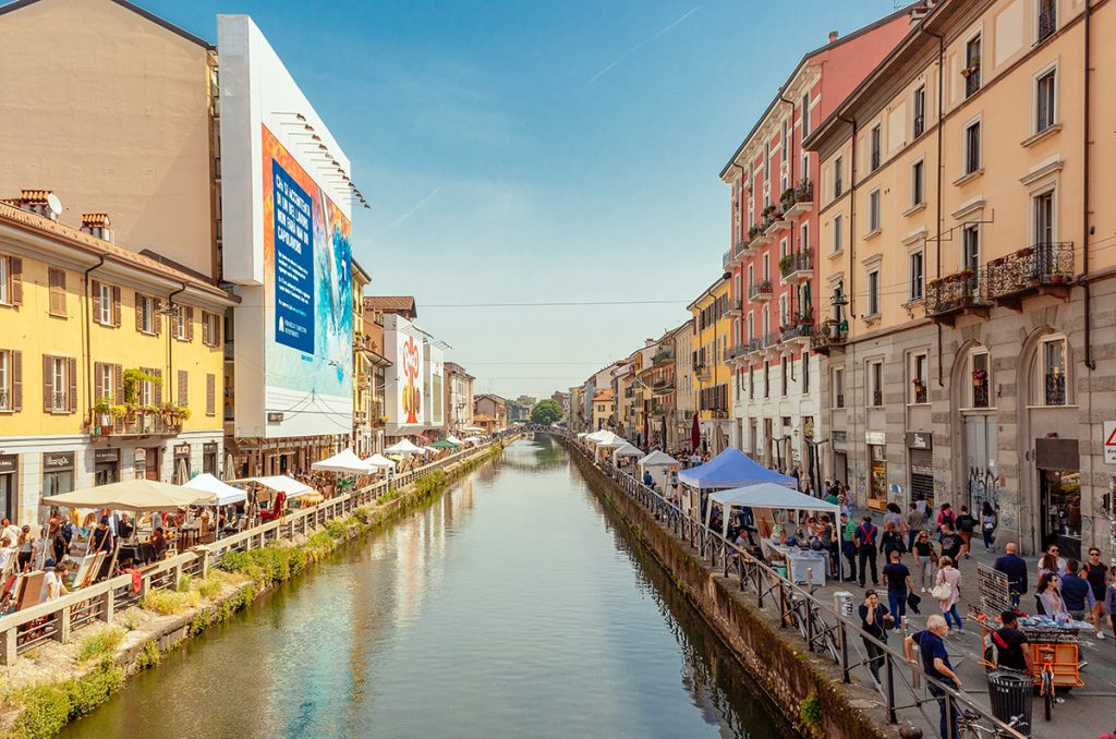 pedestrian area around the Navilgio Grande in Milan, Italy - the artifical canal is one of the best things to see in Milan