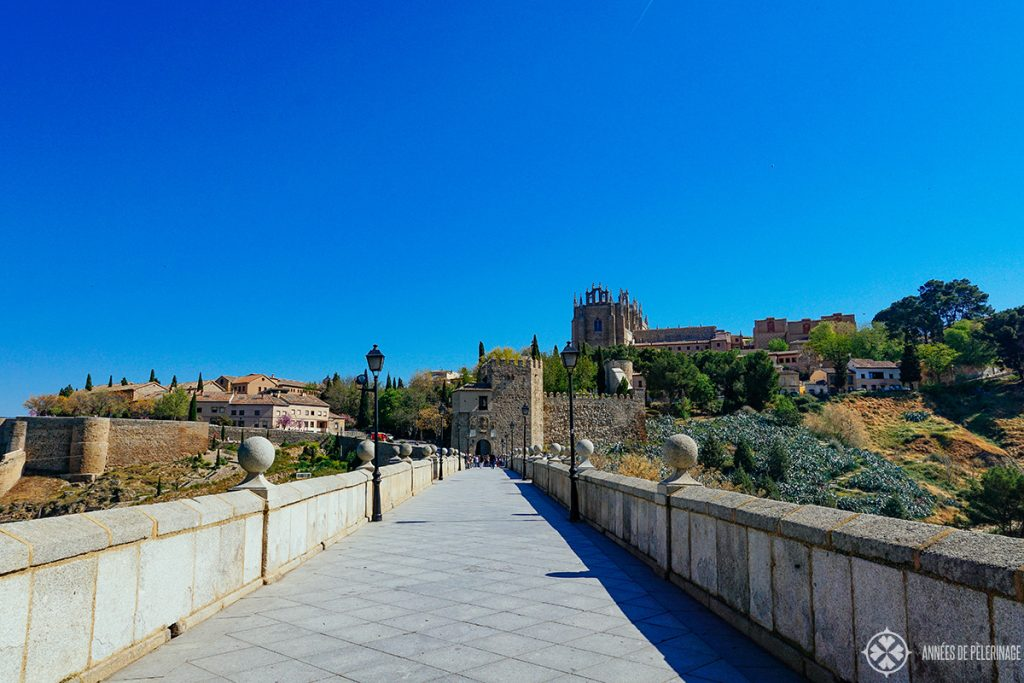 The view along the Puente de San Martín in Toledo, Spain