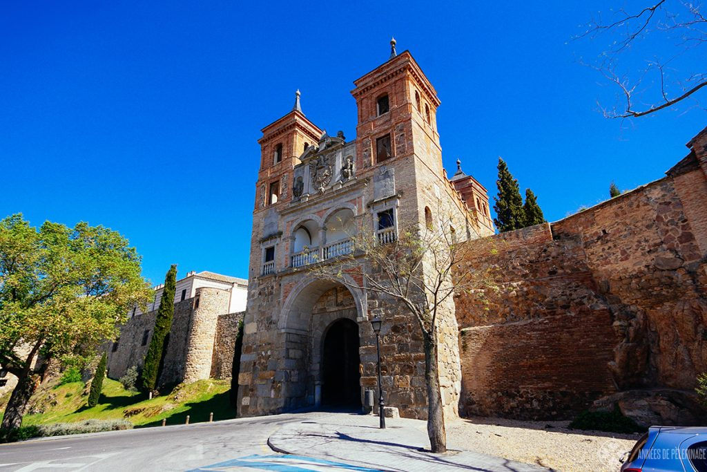 The beautiful Puerta del Cambrón along the old wall in Toledo, Spain