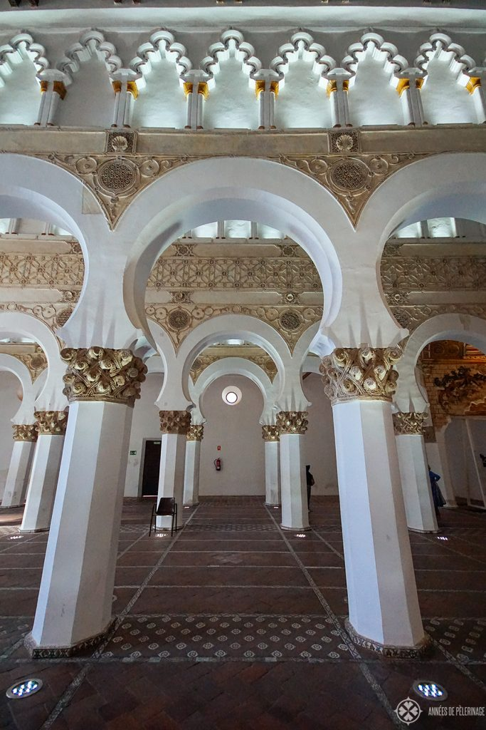The white arches of the Synagogue of Santa María la Blanca in Toledo, Spain
