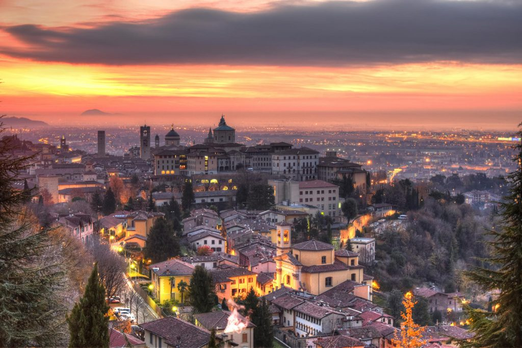 Panorma of the old tow of Bergamo, Italy - a perfect day trip from Milan
