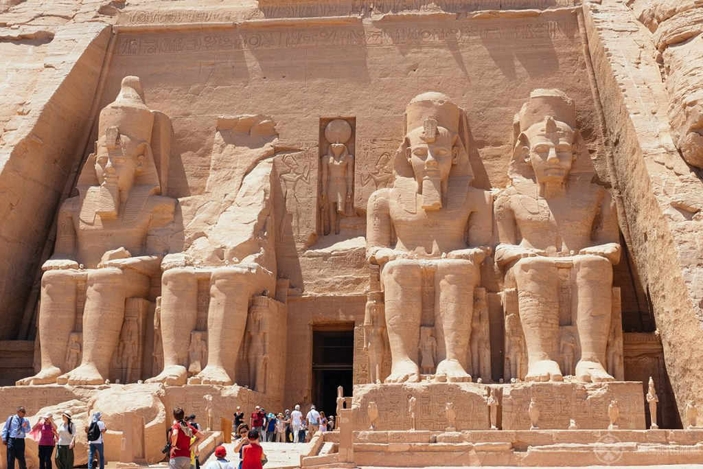 Entrance of the great temple of Ramses II in Abu Simbel Egypt