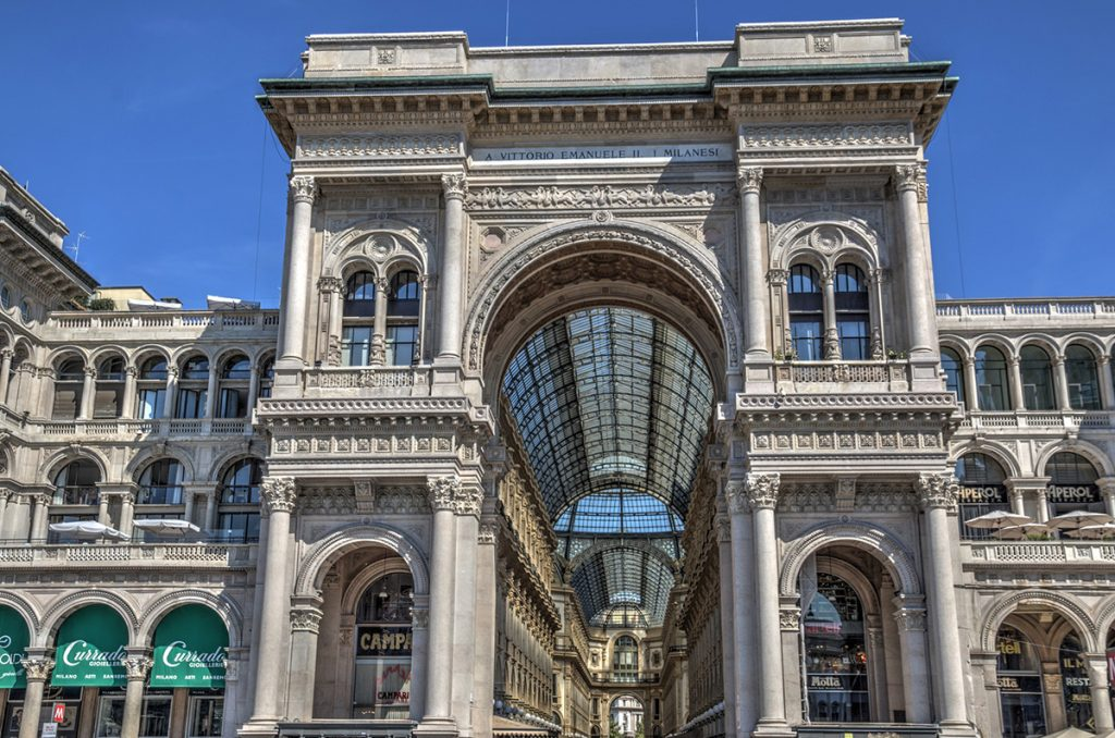 Entrance arch of the Galleria Vittorio Emanuele II in Milan, Italy