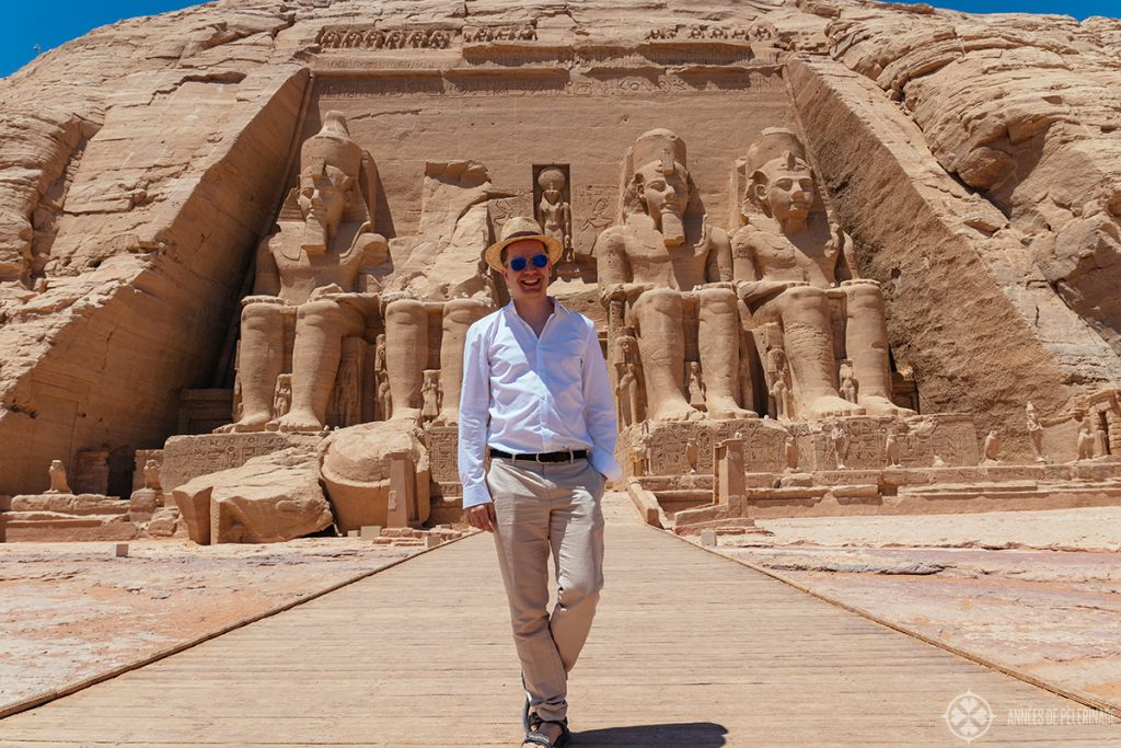 Me in front of Abu Simbel great temple Egypt. If you are wondering what to wear in Egypt, this will give you a proper impression on what to pack for Egypt in March