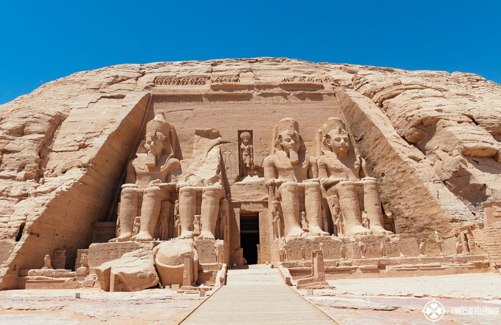 The great temple of Ramses II in Abu Simbel Egypt - front view