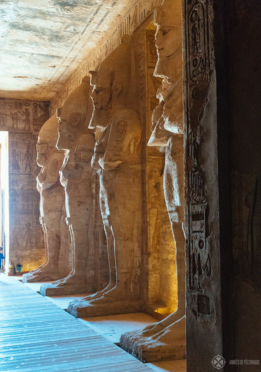 Collosal statues of Ramses II inside the great temple in Abu Simbel, Egypt