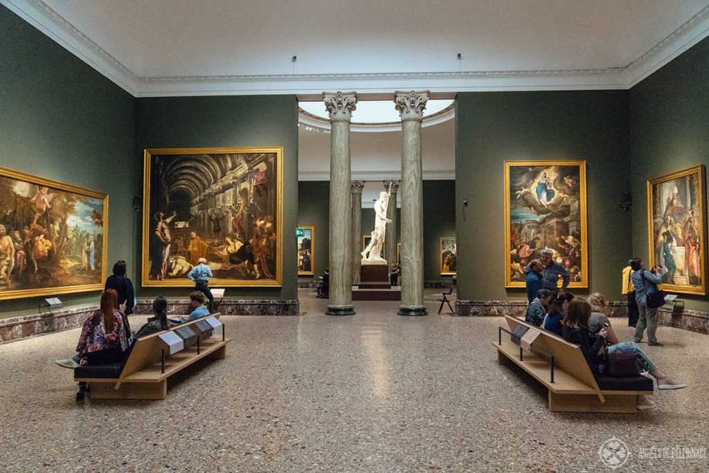 The galleries inside the Inside the Pinacoteca di Brera in Milan, Italy