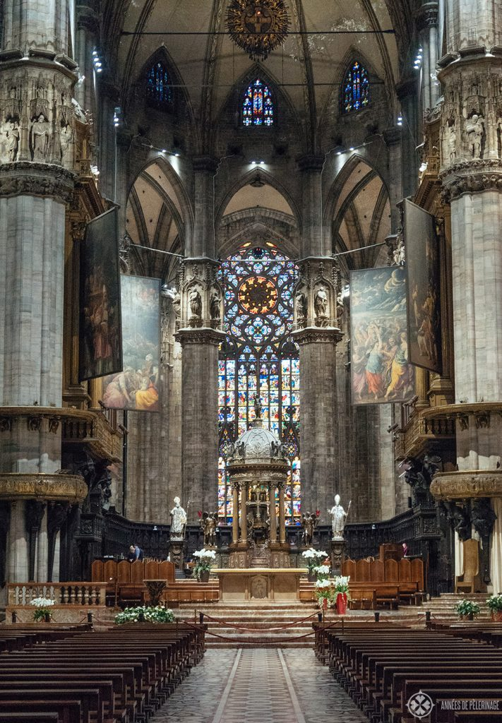 main altar inside the Duomo of Milan, Italy