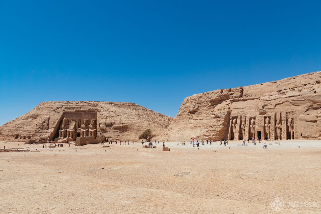 Panorama of the great and small temple in Abu Simbel, Egypt