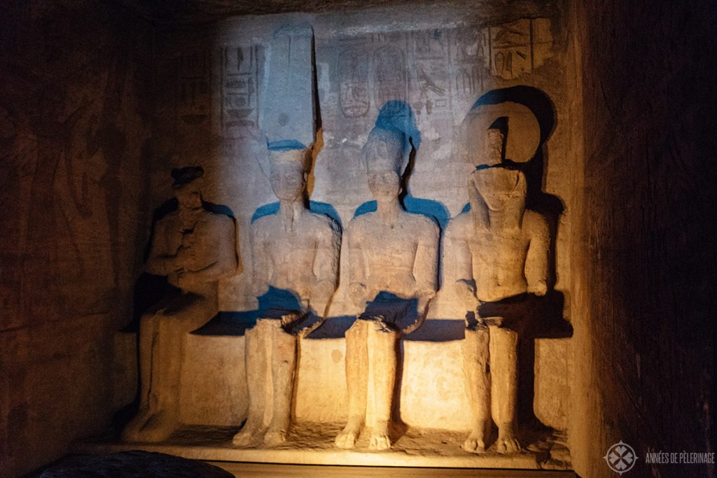 The Sanctuary of the great temple of Ramses II in Abu Simbel Egypt