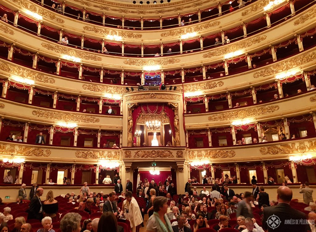 The Auditorium inside the Teatro alla Scala in Milan, Italy, just before the start of a show