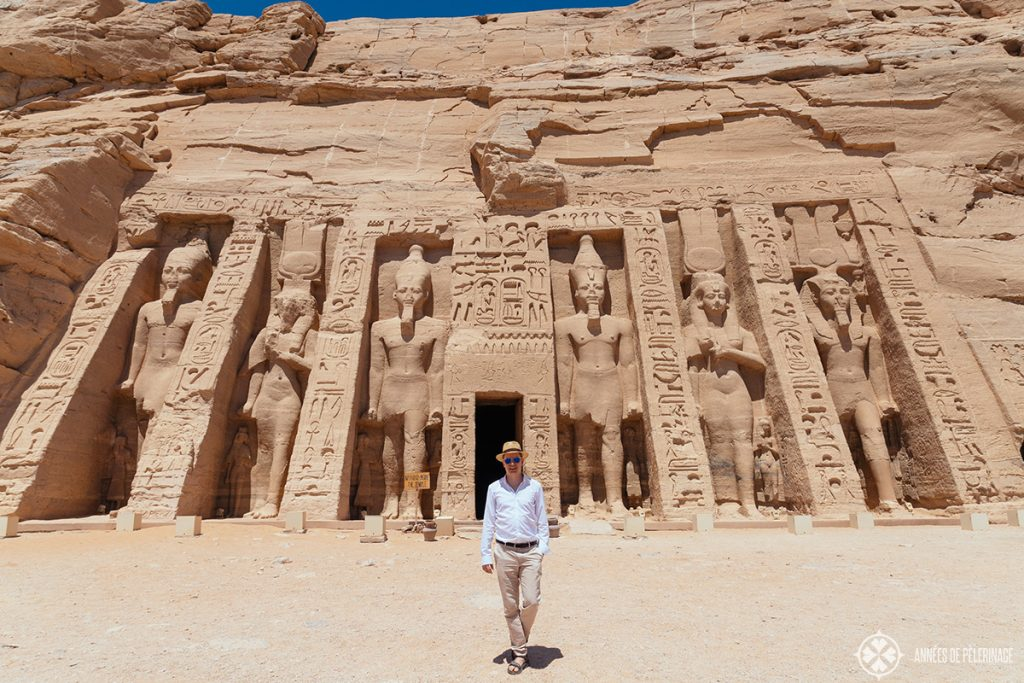 Me in front of the temple of Nefertari & Harthor in Abu Simbel, Egypt