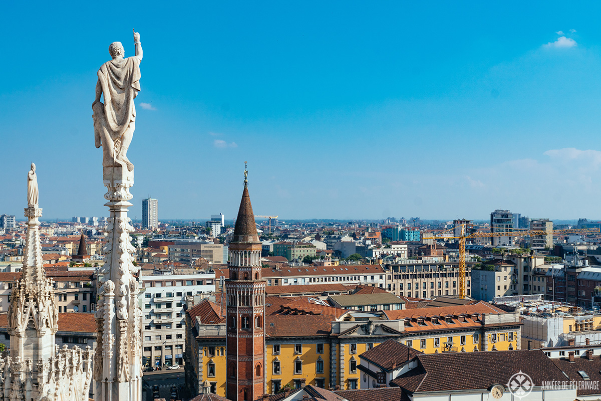 The view of Milan from the Terrace of the Duomo in Milan, Italy