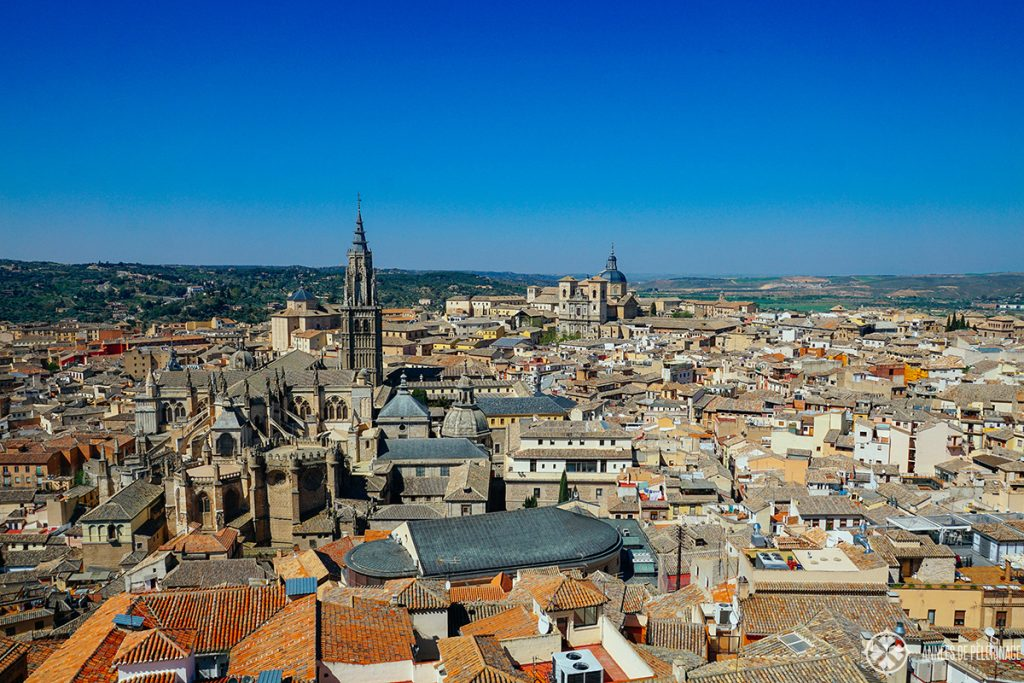 view of toledo from top of Alcázar - get there through the library. It's one of the few free things to do in Toledo
