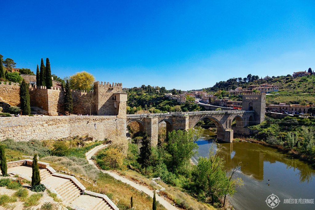 The view of the view of Puente de San Martín Toledo, Spain