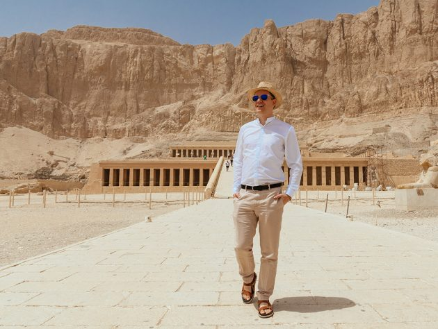 Me in front of the hatshepsut temple in Luxor, Egypt