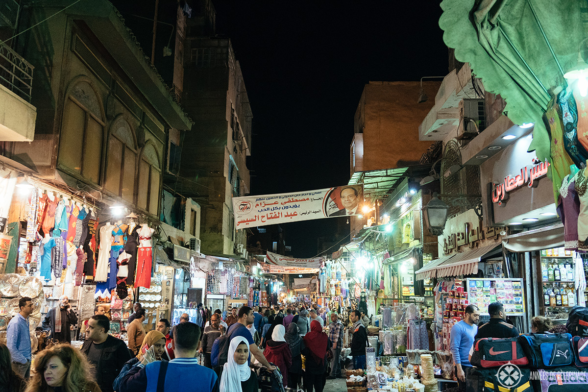 A bazaar in cairo at night is safe for tourists in Egypt