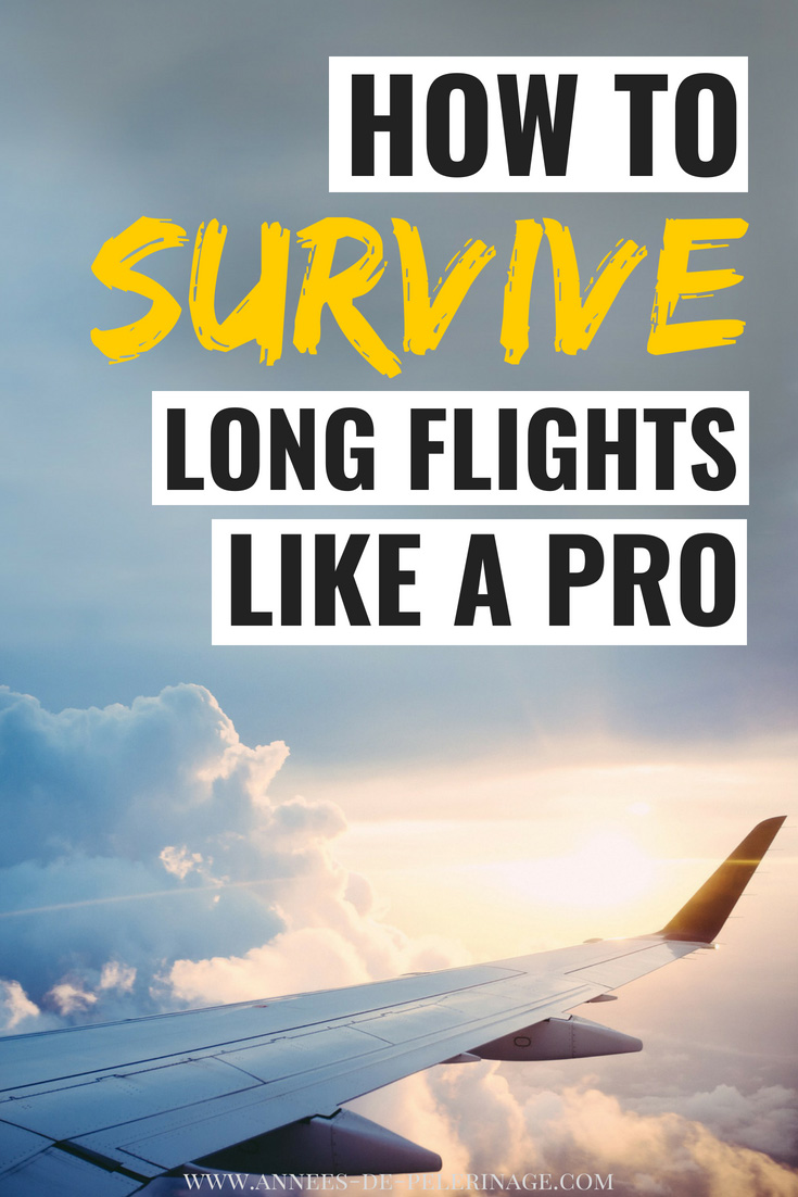 How to survive long flights like a pro. Traveling in economy and looking for the best way to optimize your time oboard an airplane. This guide will provide you with all the tips and tricks you need to survive a long-haul flight in economy. Click for more information. #travel #travelguide #budget #tips