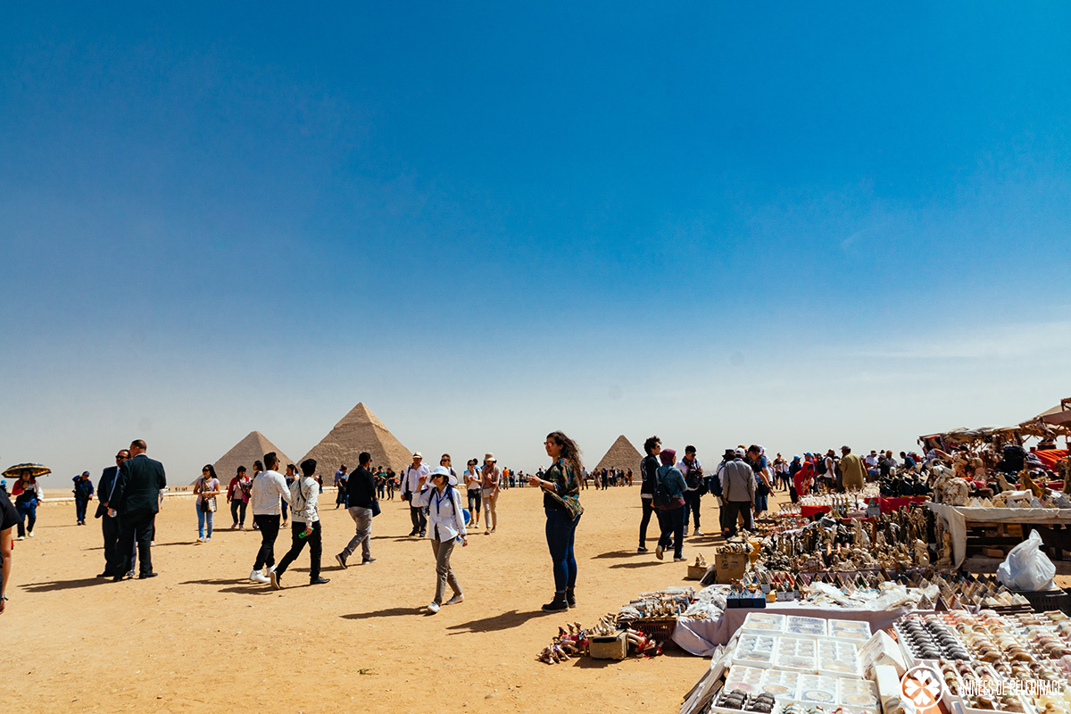 Souvenir booths at the Pyramids of Giza where tourists are often scamed in Egypt