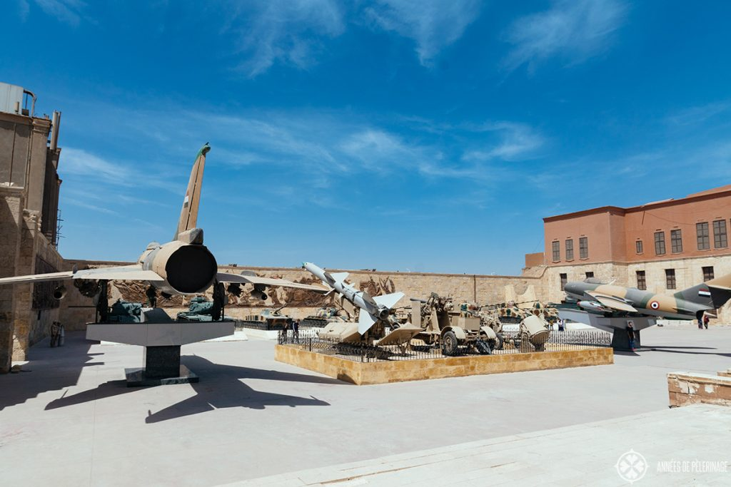 Outdoor exhibition as part of the Egyptian Military Museum - various jets and missles on display