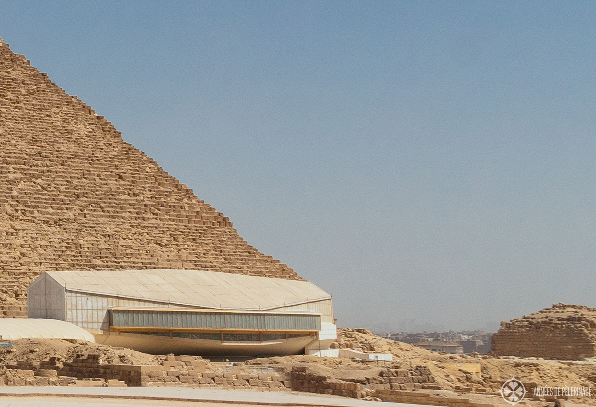 Giza Solar Boat Museum at the base of the Pyramid of Khufu as seen from outside