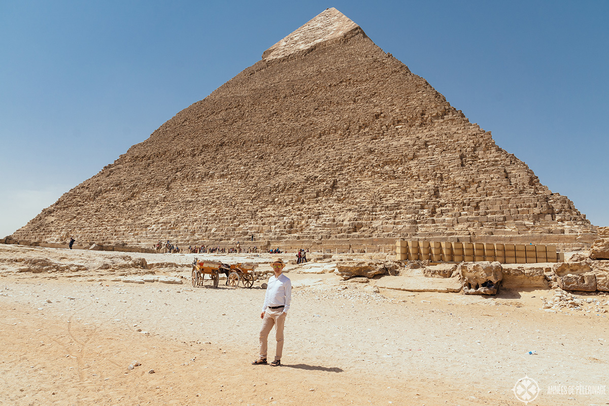 Me in front of the Pyramid of Khafre in Giza near Cairo, Egypt - the second monument on your Egypt Pyramid tour