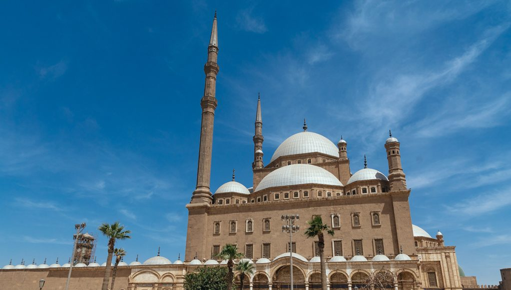 Front view of Mosque of Muhammad Ali cairo citadel egypt