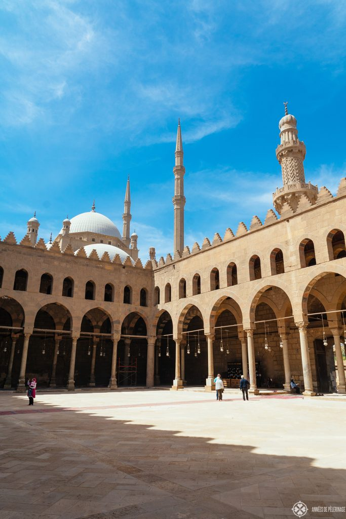 Courtyard of the Al-Nasir Muhammad Mosque - the oldest mosque inside the Cairo Citadel in Egypt