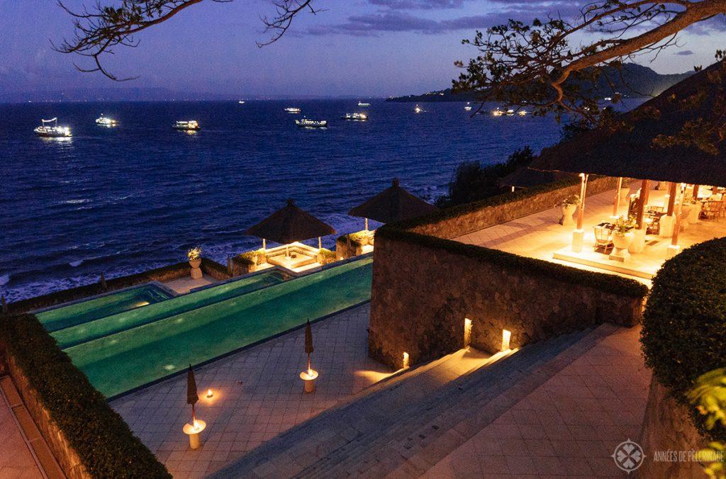 the amankila luxury hotel at night