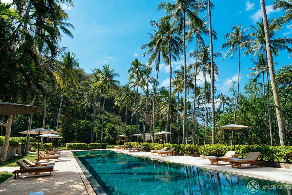 The magnificent pool at the Beach Club of the Amankila luxury hotel in Bali