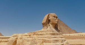 Profile of the Great Sphinx and the Pyramid of Khafre in the background