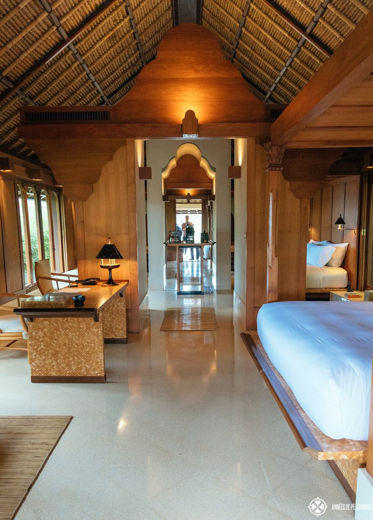 View through the entrance inside the rooms of the Amankila luxury hotel in East bali
