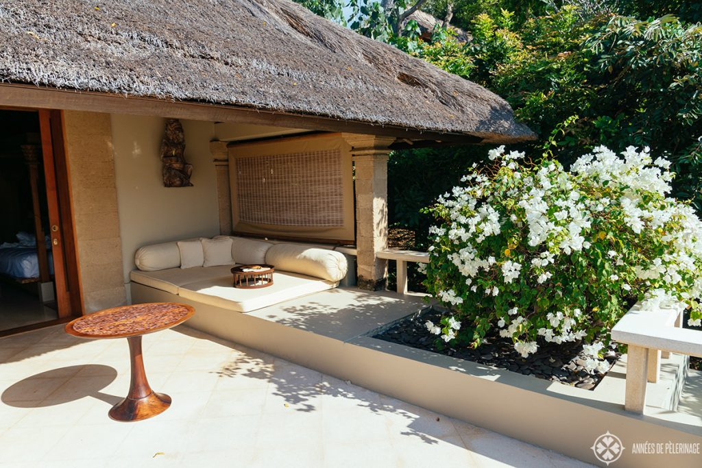Sitting area on your private terrace of the Amankila ocean view room