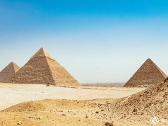 The classic panorama of the great pyramids of Giza