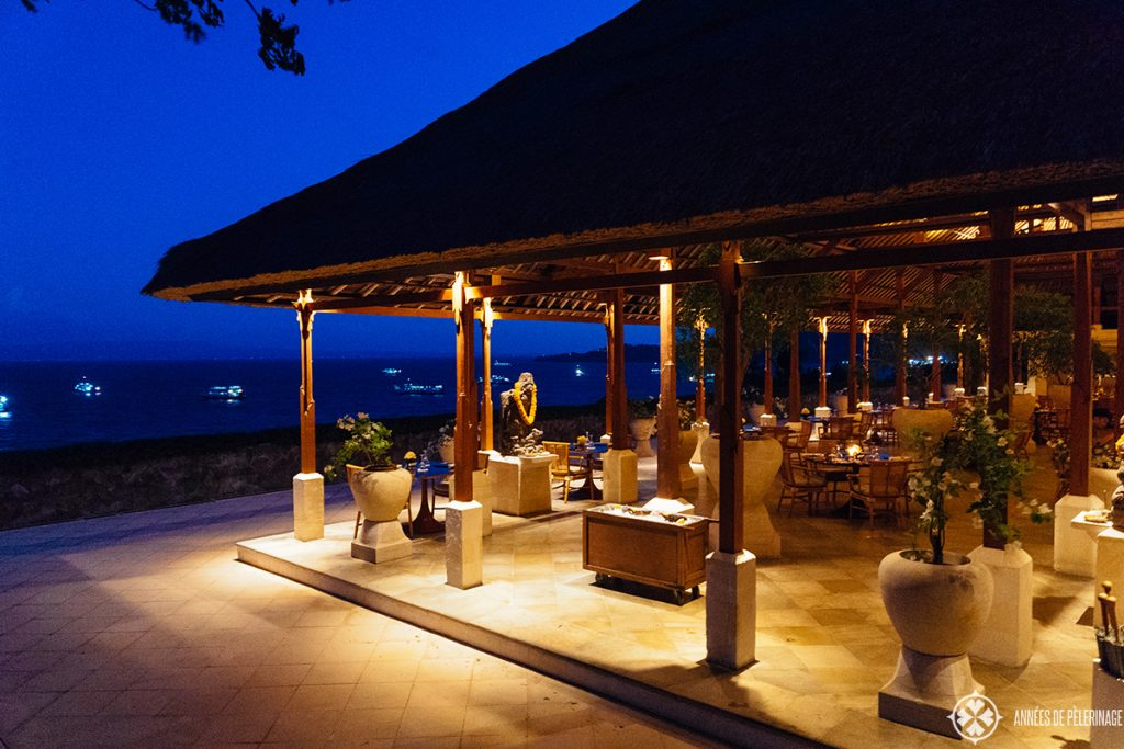 The main restaurant of the Amankila luxury hotel in East Bali at night