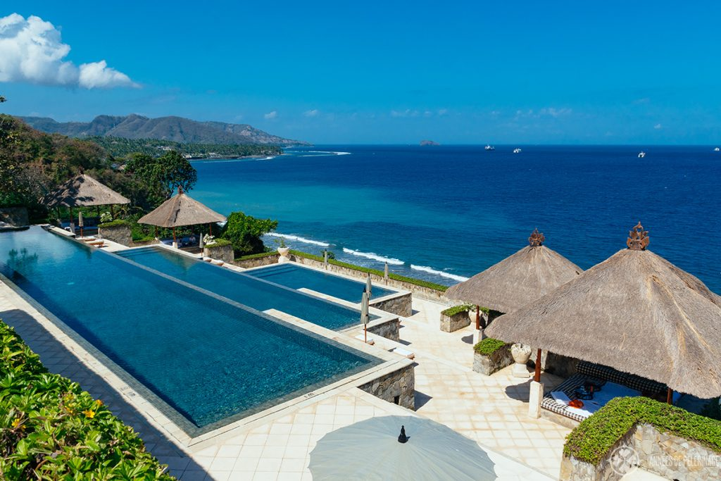 The three tiered pool of the Amankila luxury hotel in East bali